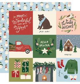 simple stories Winter Cottage Paper: 4x4 Elements