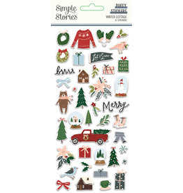 simple stories Winter Cottage: Puffy Stickers