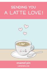 a latte love enamel pin