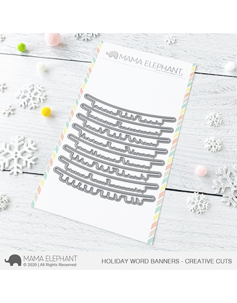 Mama elephant Holiday Word Banners Die