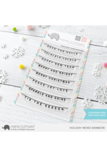 Mama elephant Holiday Word Banners Stamp