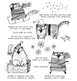 Tim Hotlz Snarky Cat Christmas Stamp