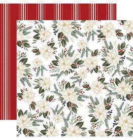 Carta Bella Farmhouse Christmas Paper: Poinsettia Floral
