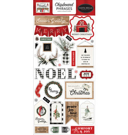 Carta Bella Farmhouse Christmas:  6x13 Chipboard Phrases