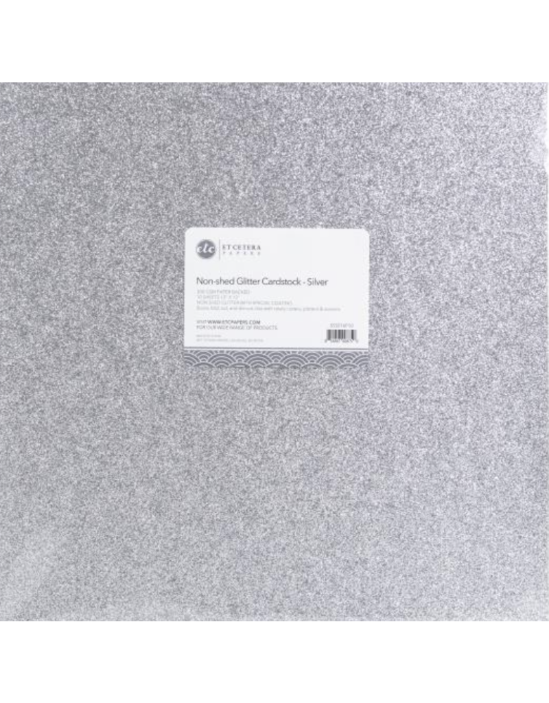 ETCETERA Papers Glitter Cardstock Non-Shed: Silver
