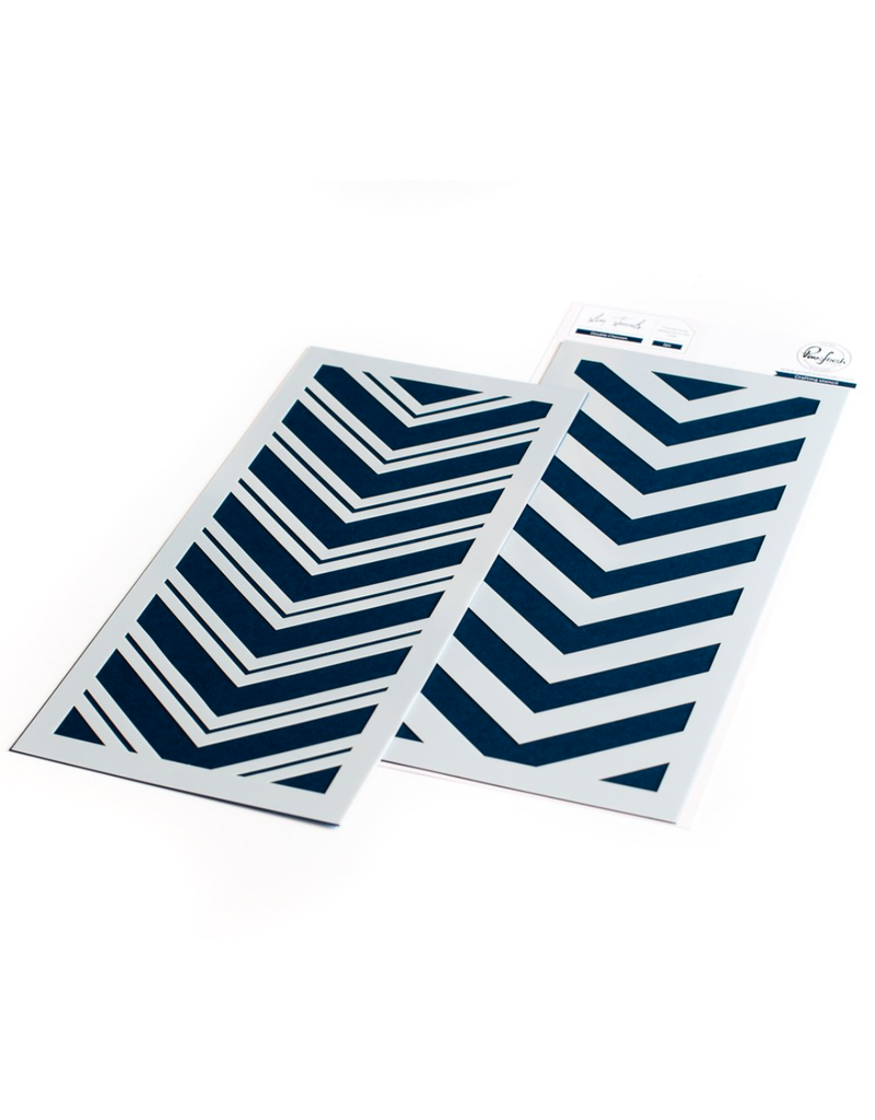pinkfresh studios Double Chevron Layering Stencil Set