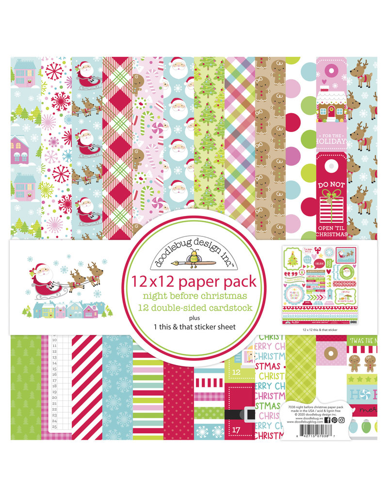 DOODLEBUG night before christmas 12x12 paper pack