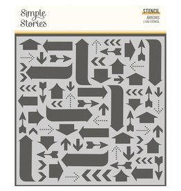 simple stories Hello Today :  6x6 Stencil :  Arrows