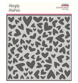 simple stories Sweet Talk :  6x6 Stencil :  Scattered Hearts