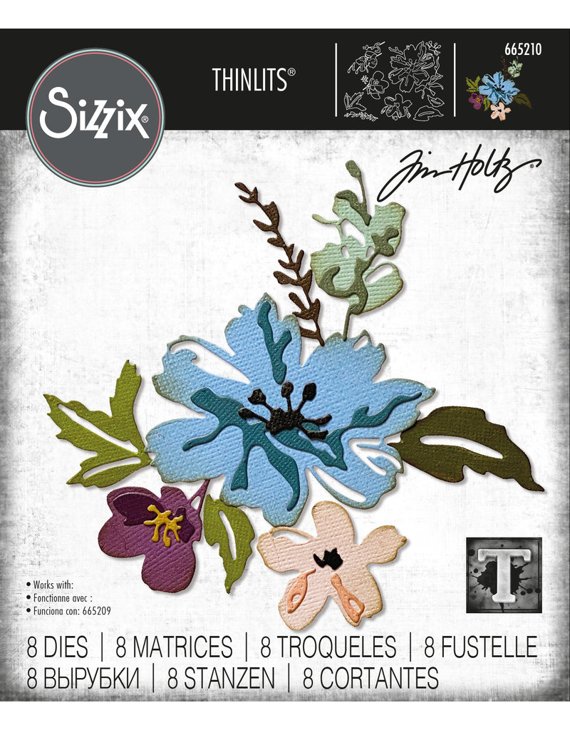 Tim Holtz Brushstroke Flowers #2 Thinlits Die Set