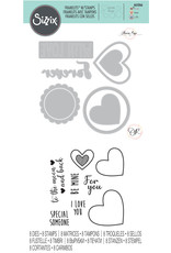 sizzix Love Hearts Framelits Die w/Stamps
