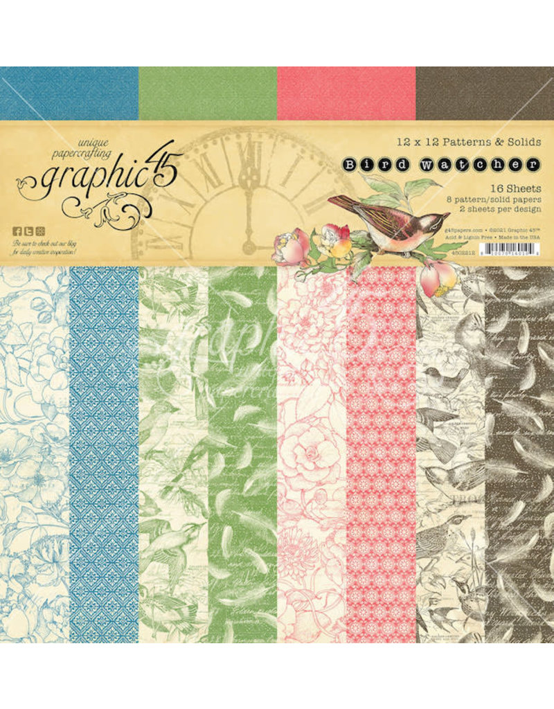 GRAPHIC45 Bird Watcher 12x12 Patterns & Solids