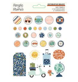 simple stories Safe Travels - Decorative Brads