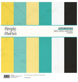 simple stories Simple Vintage Lemon Twist Paper- 12x12 Basics Kit