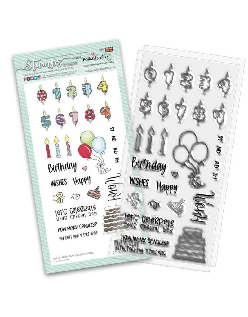 Polkadoodles Birthday Celebrations Stamp