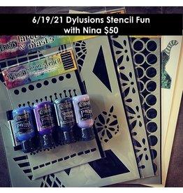 nina boettcher 06/19/21 Dylusions Stencil Fun with Nina