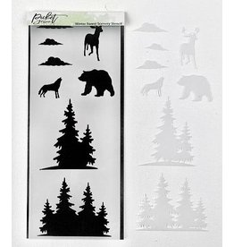 Picket Fence Winter Forest Scenery Stencil