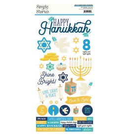 simple stories Happy Hanukkah - 6x12 Cardstock Sticker