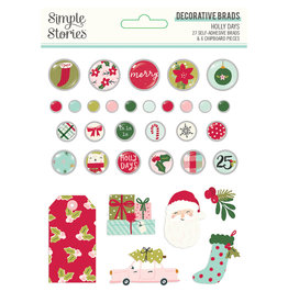 simple stories Holly Days- Decorative Brads