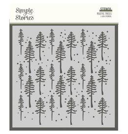 simple stories Simple Vintage Rustic Christmas - 6x6 Stencil - Rustic Trees