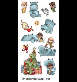 LDRS Hippopotamus for Christmas 4x8 Stamps
