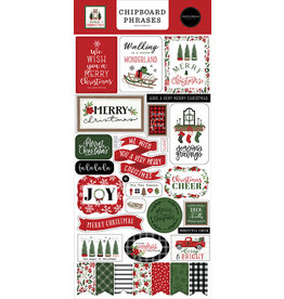Carta Bella Home For Christmas:  6x13 Chipboard Phrases