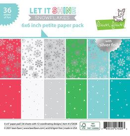 lawn fawn let it shine snowflakes - 6x6 petite paper pad