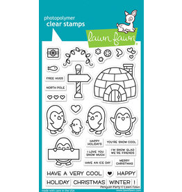 lawn fawn penguin party stamp