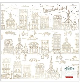 american crafts Busy Sidewalks Paper: Acetate W/Gold Foil Accents