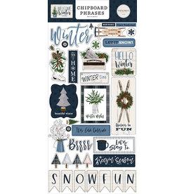 Carta Bella Welcome Winter:  6x13 Chipboard Phrases