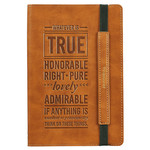 Christian Art Gifts Whatever Is True - Flexcover Dotted Journal with Elastic Closure – Philippians 4:8