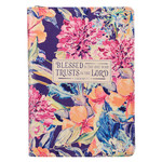 Christian Art Gifts Blessed is the One - Floral Faux Leather Classic Journal with Zipped Closure - Jeremiah 17:7