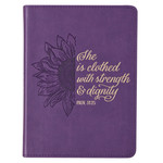 Christian Art Gifts Strength & Dignity - Purple Sunflower Faux Leather Handy-Sized Journal - Proverbs 31:25