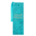 Christian Art Gifts Strength & Dignity - Teal Faux Leather Bookmark - Proverbs 31:25