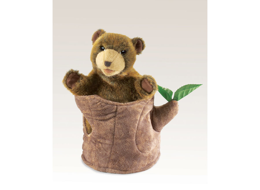 Folkmanis Bear In a Tree Stump Puppet