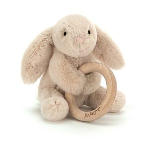 Jellycat Shooshu Bunny with Wooden Ring Toy