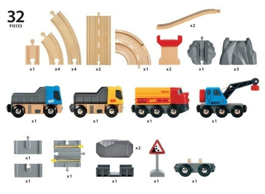 Brio Wooden Rail and Road Loading Set