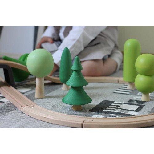 Set of 7 Green Trees