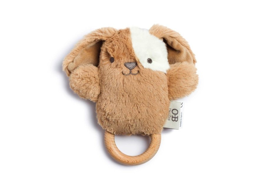 Wooden Baby Rattle And Teething Ring Duke Dog