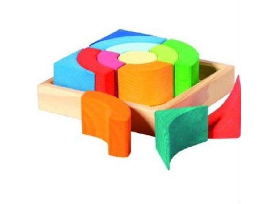 Gluckskafer Wooden Blocks - Circular Squares w Tray (13pcs)