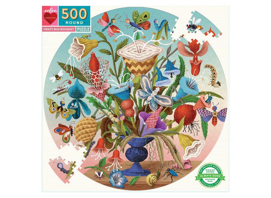 eeBoo 500 Pc Round Puzzle – Crazy Bug Bouquet