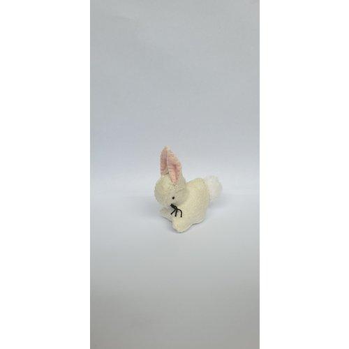 Gluckskafer  Rabbit Handmade with Wool Felt White 4 cm