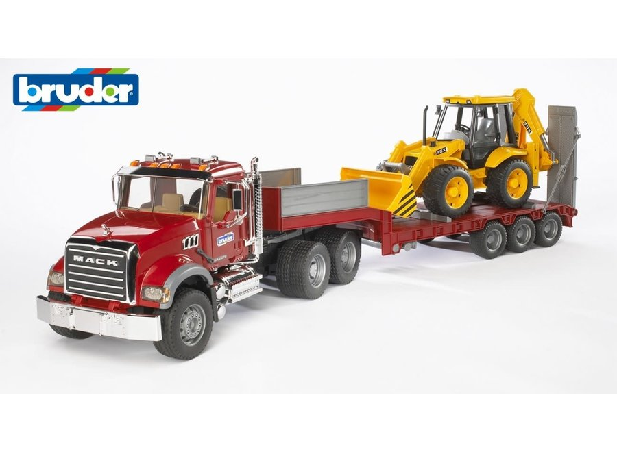 BR1:16 MACK Granite Low Loader w/JCB 4CX Backhoe Loader