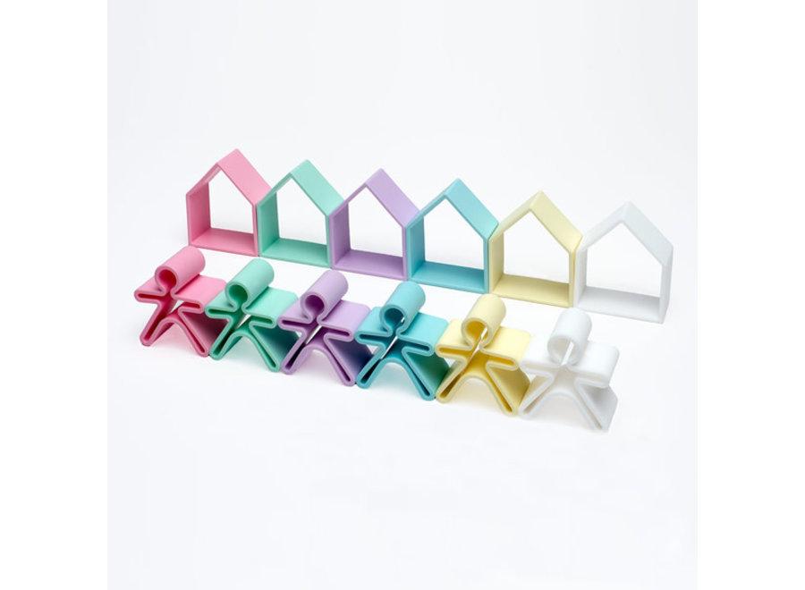 dena Toys - Kid 6pc + House 6pc Pastel