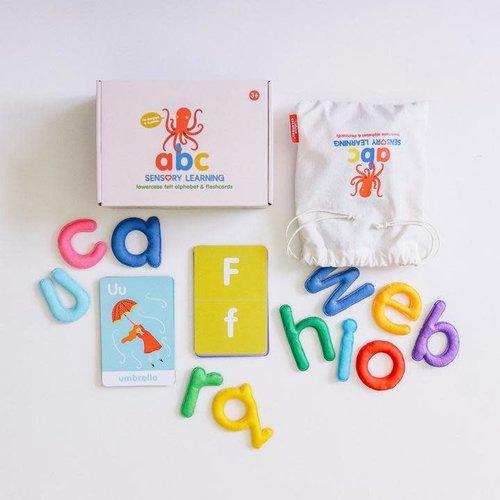 Curious Columbus abc lowercase Felt Alphabet & Flashcards