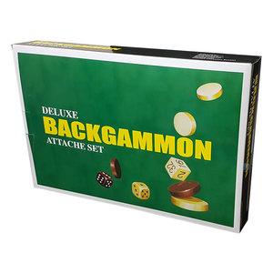 "Deluxe Backgammon Attache Set 15"" Black Vinyl"