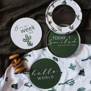 Snuggle Hunny Cactus & Leaf Green Reversible Milestone Cards