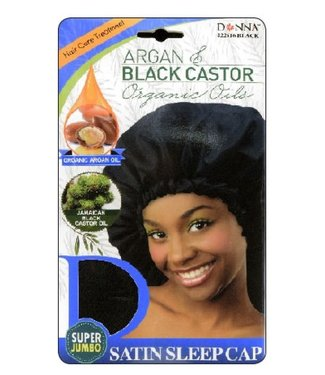 Donna Donna Argan & Castor Oils Sleep Cap - Super Jumbo (Black)