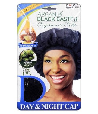 Donna Argan and Black Castor Oil Day & Night Cap (Black)