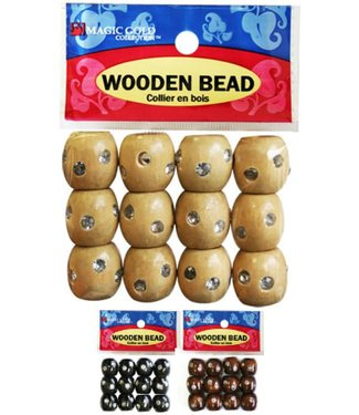 Magic Collection Wooden Beads w/Stone Large - Dark Brown